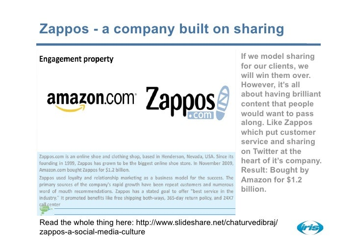 Zappos - a company built on sharing                                                          If we model sharing          ...