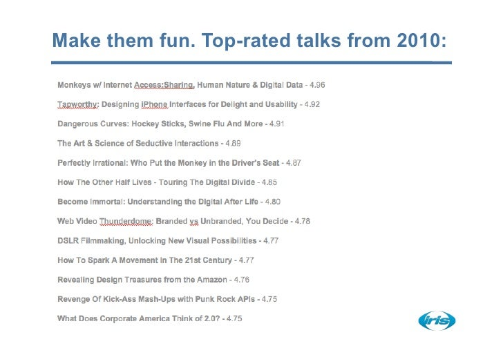 Make them fun. Top-rated talks from 2010: