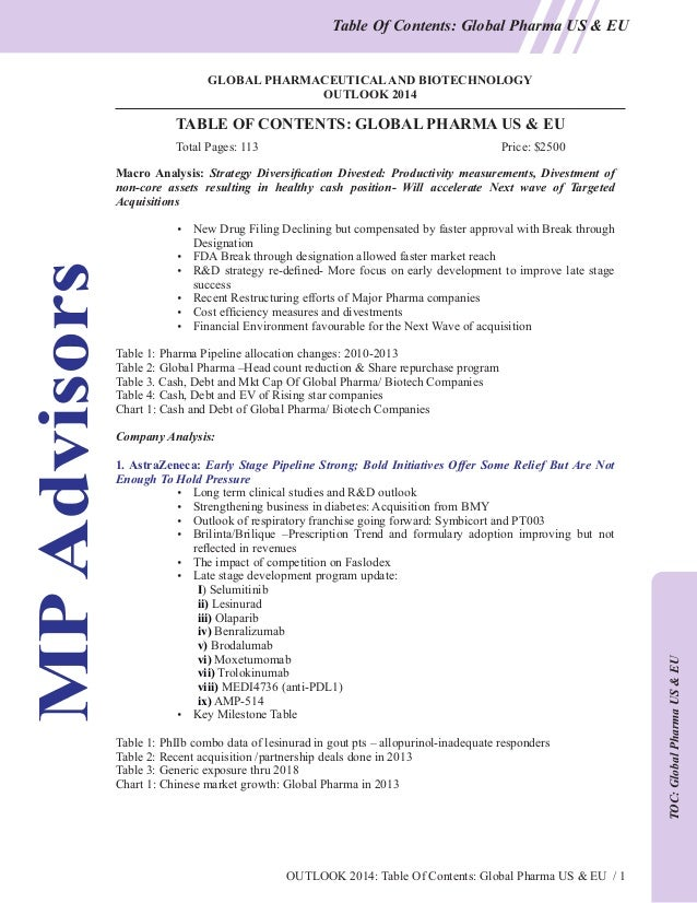 Table Of Contents: Global Pharma US & EU  GLOBAL PHARMACEUTICAL AND BIOTECHNOLOGY OUTLOOK 2014  TABLE OF CONTENTS: GLOBAL ...