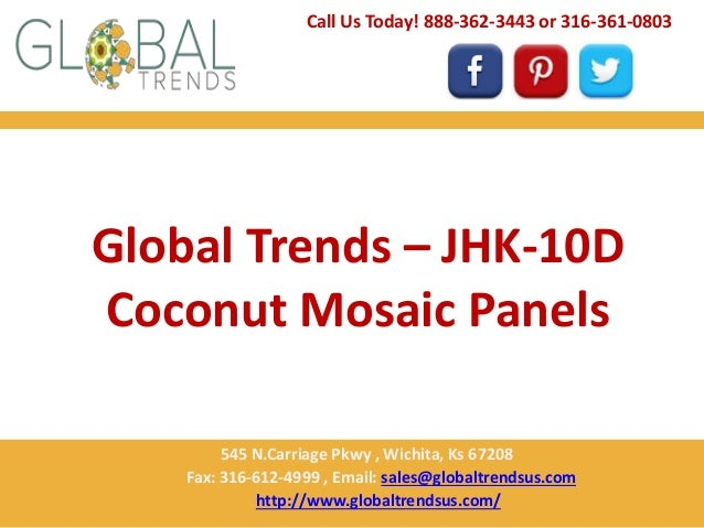 Global Trends – JHK-10D Coconut Mosaic Panels Call Us Today! 888-362-3443 or 316-361-0803 545 N.Carriage Pkwy , Wichita, K...