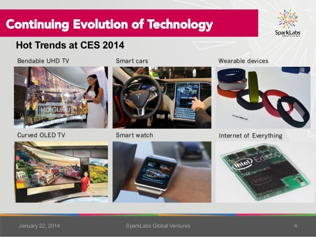 Continuing Evolution of Technology Hot Trends at CES 2014 Bendable UHD TV  Smart cars  Wearable devices  Curved OLED TV...