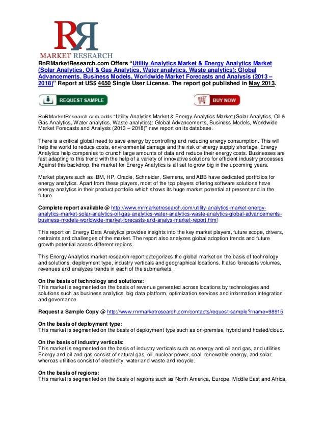 "RnRMarketResearch.com Offers ""Utility Analytics Market & Energy Analytics Market(Solar Analytics, Oil & Gas Analytics, Wat..."