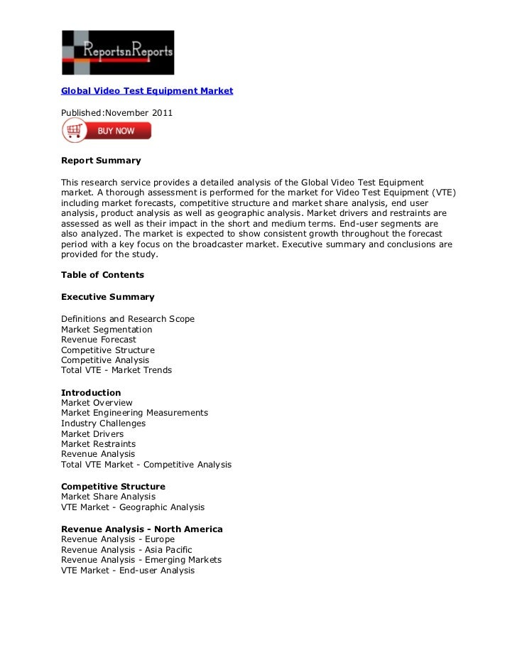 Global Video Test Equipment MarketPublished:November 2011Report SummaryThis research service provides a detailed analysis ...