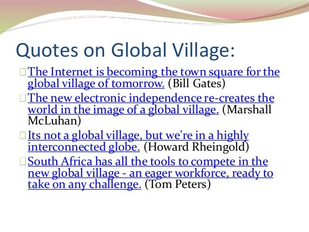 world as a global village essays