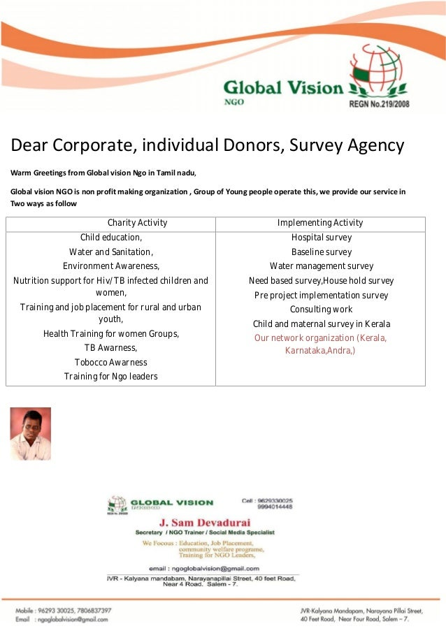 Dear Corporate, individual Donors, Survey Agency Warm Greetings from Global vision Ngo in Tamil nadu, Global vision NGO is...