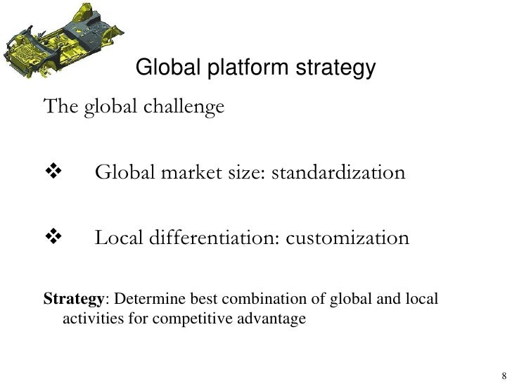 standardized vs localized strategy Standardization and customization- a global debate dr jyotsna hirmukhe   global localization (adaptation) mixing standardization and customization in   global platform strategy product variety versus economies of scale.