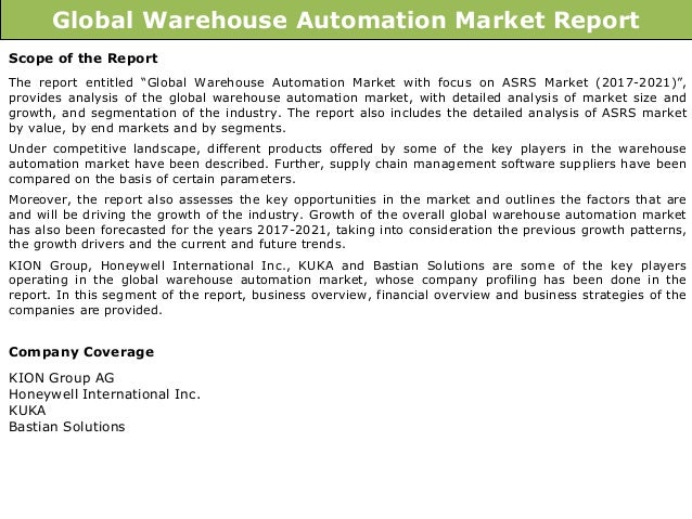Global Warehouse Automation Market with Focus on Automated