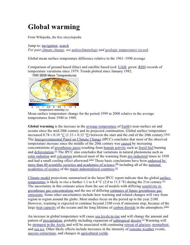 Global warming From Wikipedia, the free encyclopedia  Jump to: navigation, search For past climate change, see paleoclimat...