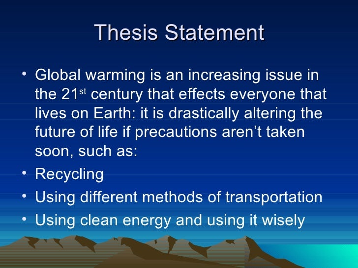Strong Thesis Statement Global Warming