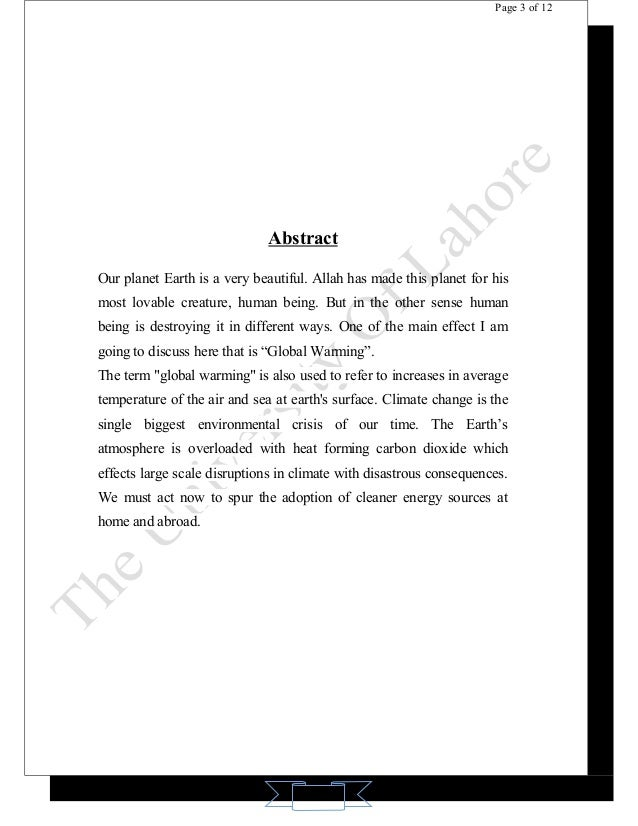 report writing on global climate change