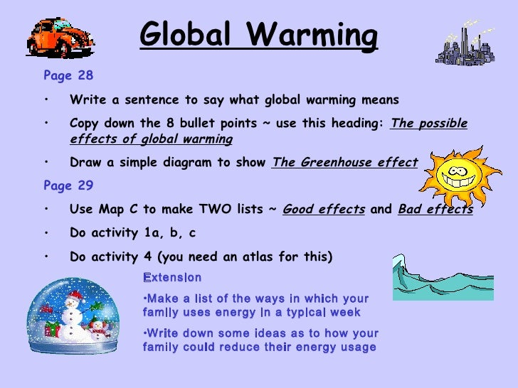 Global warming writing task 2