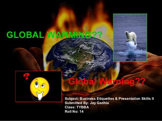 business plan presentation script of global warming