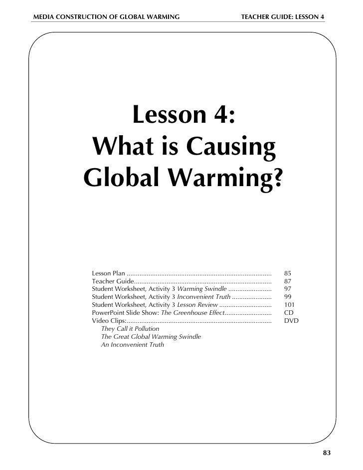 Global warming lesson plan – Inconvenient Truth Worksheet