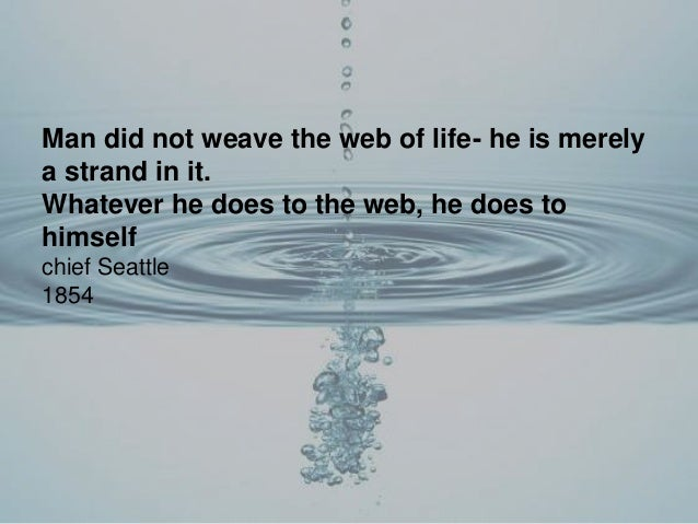 Man did not weave the web of life- he is merely a strand in it. Whatever he does to the web, he does to himself chief Seat...