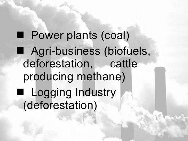 <ul><li>Power plants (coal) </li></ul><ul><li>Agri-business (biofuels,  deforestation,  cattle  producing methane) </li></...
