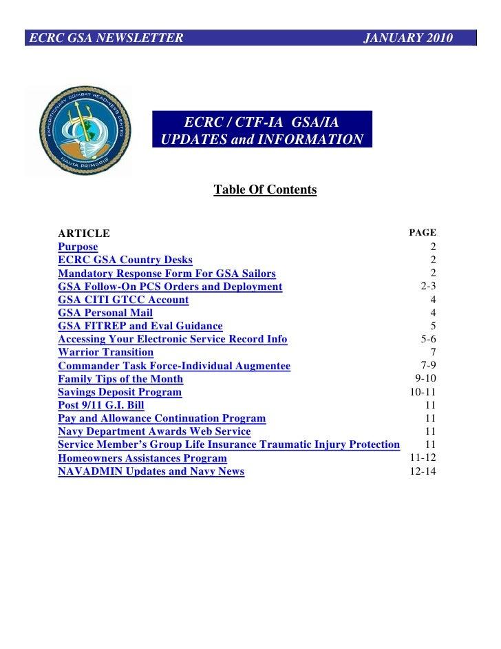 ECRC GSA NEWSLETTER                                          JANUARY 2010                             ECRC / CTF-IA GSA/IA...