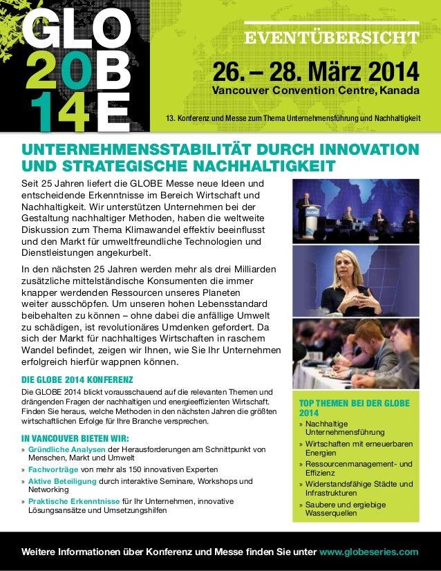 EVENTÜBERSICHT 26.– 28. März 2014Vancouver Convention Centre,Kanada Unternehmensstabilität durch Innovation und strategisc...