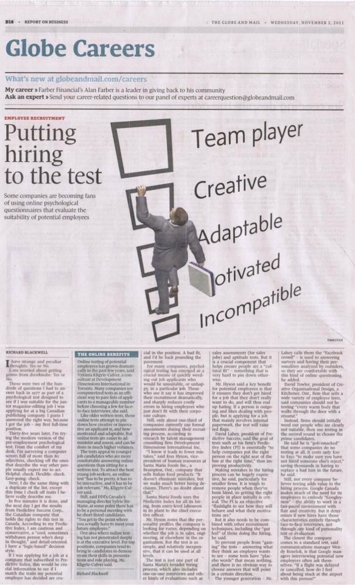 Globe And Mail    Answering The Hiring Question With Psychological Testing   Nov 2011