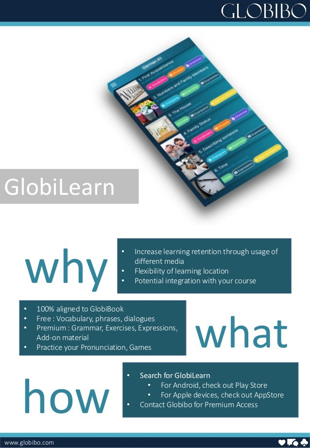 www.globibo.com • Increase learning retention through usage of different media • Flexibility of learning location • Potent...