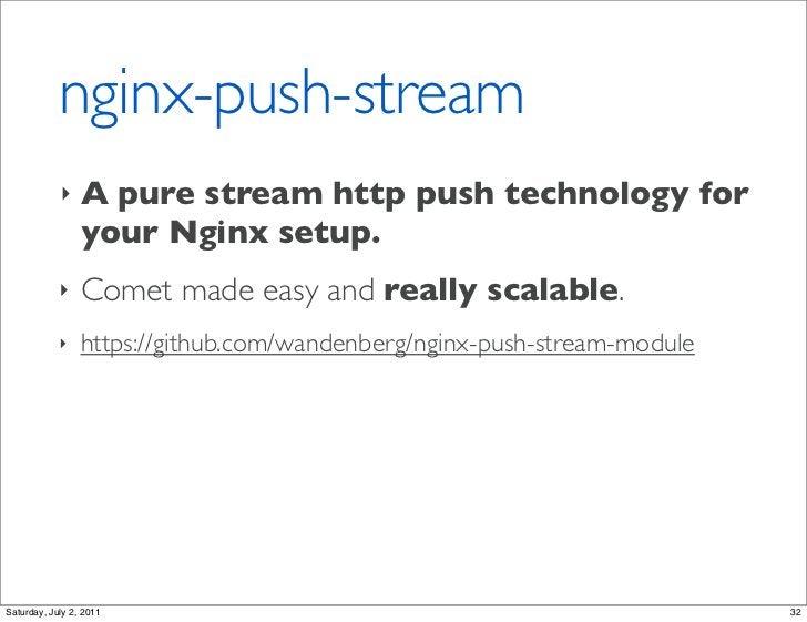 nginx-push-stream            ‣    A pure stream http push technology for                 your Nginx setup.            ‣   ...