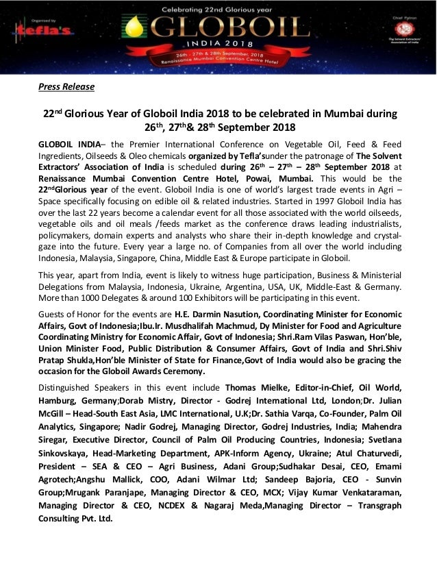 Press Release 22nd Glorious Year of Globoil India 2018 to be celebrated in Mumbai during 26th, 27th& 28th September 2018 G...