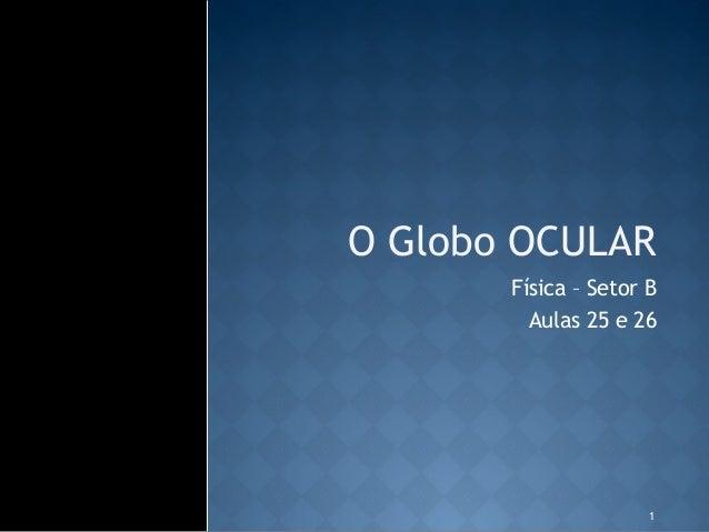 O Globo OCULAR       Física – Setor B         Aulas 25 e 26                      1