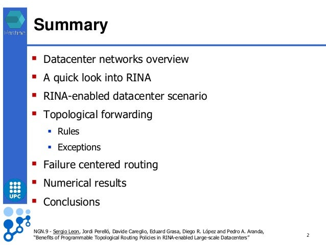 Benefits of programmable topological routing policies in RINA-enabled large scale DCs Slide 2