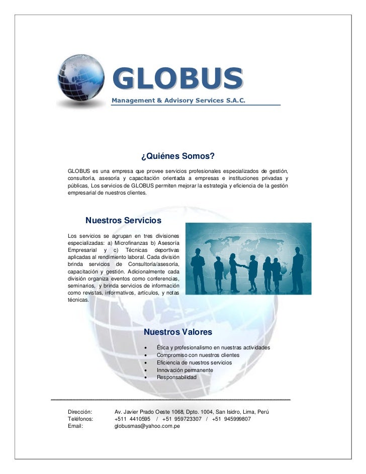 GLOBUS                       Management & Advisory Services S.A.C.                                   ¿Quiénes Somos?     G...