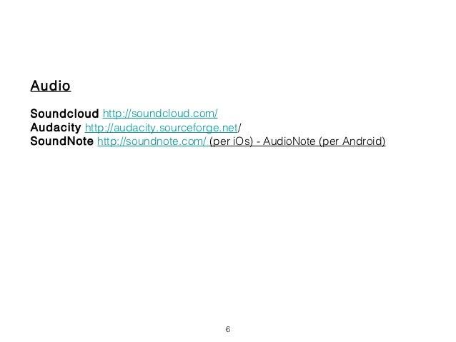 AudioSoundcloud http://soundcloud.com/Audacity http://audacity.sourceforge.net/SoundNote http://soundnote.com/ (per iOs) -...