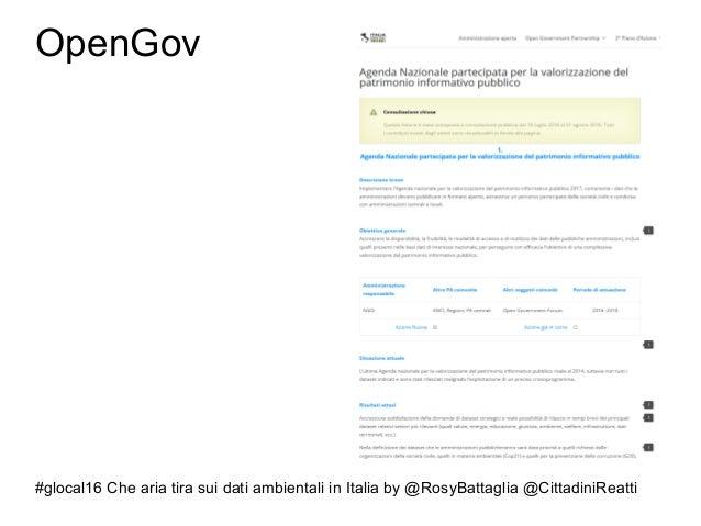 #glocal16 Che aria tira sui dati ambientali in Italia by @RosyBattaglia @CittadiniReatti OpenGov