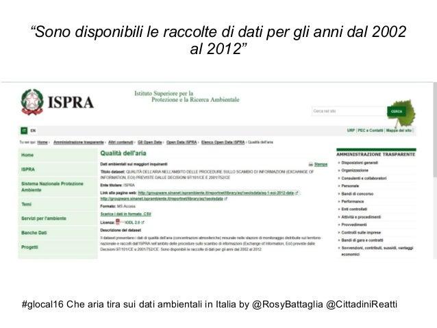 """#glocal16 Che aria tira sui dati ambientali in Italia by @RosyBattaglia @CittadiniReatti """"Sono disponibili le raccolte di ..."""