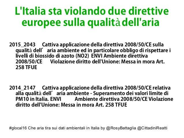 #glocal16 Che aria tira sui dati ambientali in Italia by @RosyBattaglia @CittadiniReatti L'Italia sta violando due diretti...