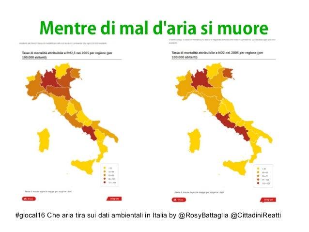 #glocal16 Che aria tira sui dati ambientali in Italia by @RosyBattaglia @CittadiniReatti Mentre di mal d'aria si muore