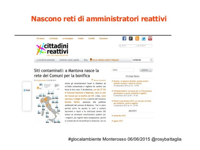 #glocalambiente Monterosso 06/06/2015 @rosybattaglia Nascono reti di amministratori reattivi