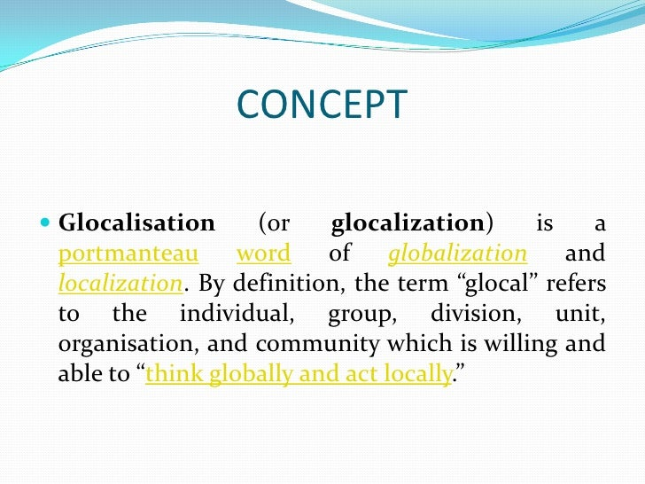 Globalisation to Glocalistation