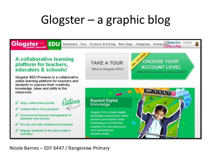 Glogster – a graphic blog<br />Nicole Barnes – EDF 6447 / Rangeview Primary<br />