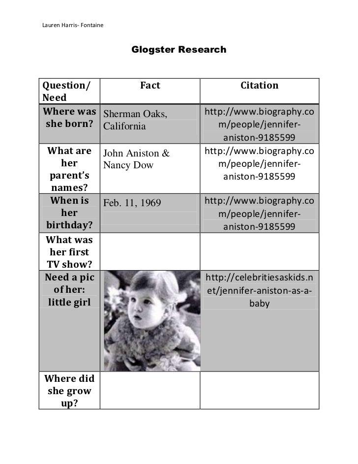 Lauren Harris- Fontaine                          Glogster ResearchQuestion/           Fact                       CitationN...