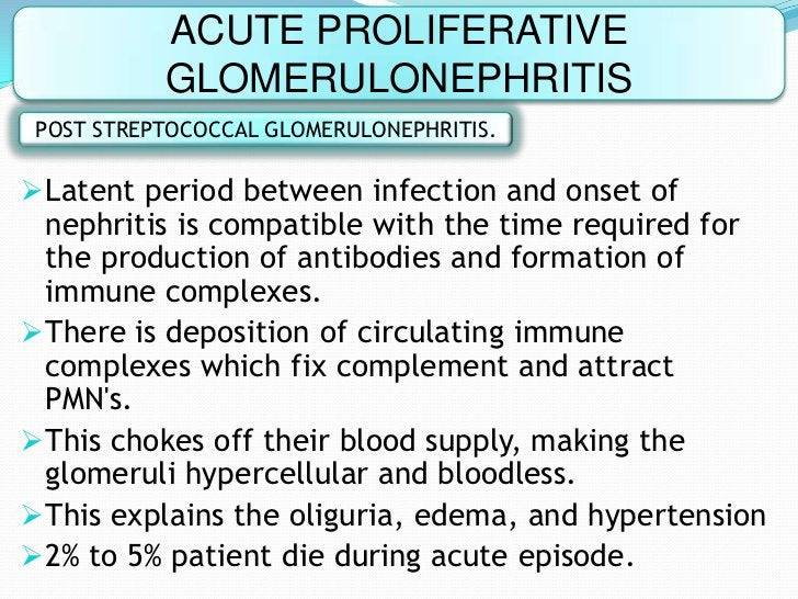 ACUTE PROLIFERATIVE          GLOMERULONEPHRITISPOST STREPTOCOCCAL GLOMERULONEPHRITIS.Latent period between infection and ...