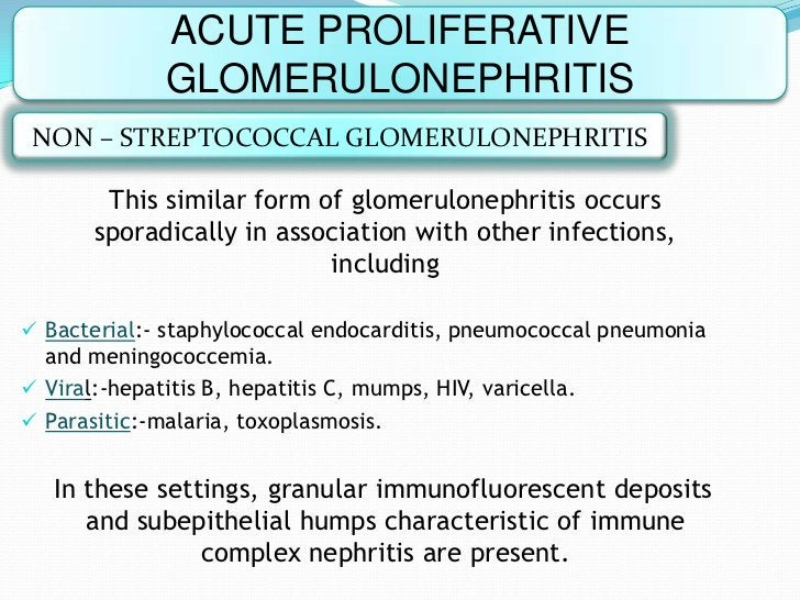ACUTE PROLIFERATIVE              GLOMERULONEPHRITIS NON – STREPTOCOCCAL GLOMERULONEPHRITIS        This similar form of glo...