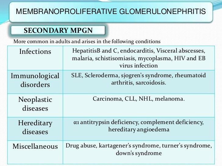 MEMBRANOPROLIFERATIVE GLOMERULONEPHRITIS    SECONDARY MPGNMore common in adults and arises in the following conditions  In...