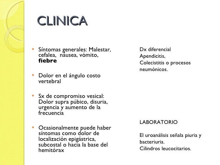 CLINICA <ul><li>Síntomas generales: Malestar, cefalea,  náusea, vómito,  fiebre </li></ul><ul><li>Dolor en el ángulo costo...
