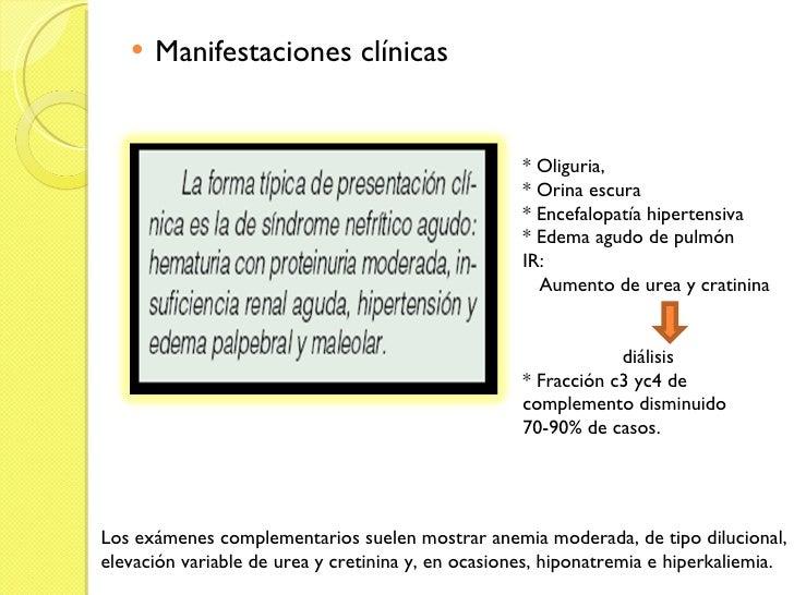<ul><li>Manifestaciones clínicas </li></ul>Los exámenes complementarios suelen mostrar anemia moderada, de tipo dilucional...
