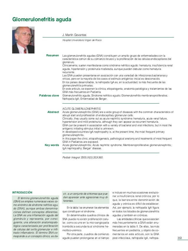 Ped Int 9/5 88p  29/8/05  09:44  Página 353  Glomerulonefritis aguda J. Martín Govantes Hospital Universitario Virgen del ...