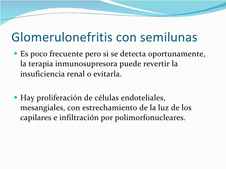 Glomerulonefritis con semilunas <ul><li>Es poco frecuente pero si se detecta oportunamente, la terapia inmunosupresora pue...