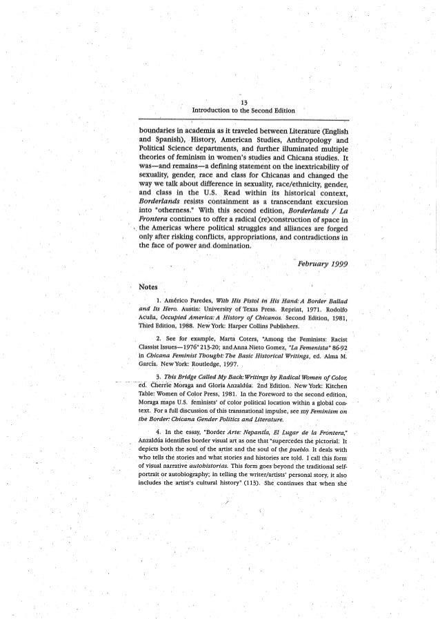 an analysis of essays by gloria anzaldua Women reading, women writing: self-invention in paula gunn allen an interview with gloria anzaldua p 3, in melus summer 2000, vol 25, issue 2.
