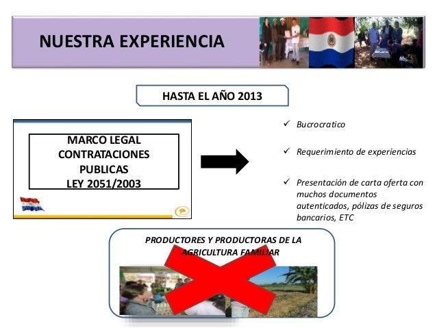 NUESTRA EXPERIENCIA HASTA EL AÑO 2013 MARCO LEGAL CONTRATACIONES PUBLICAS LEY 2051/2003  Bucrocratico  Requerimiento de ...