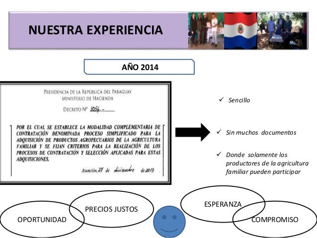 NUESTRA EXPERIENCIA AÑO 2014  Sencillo  Sin muchos documentos  Donde solamente los productores de la agricultura famili...