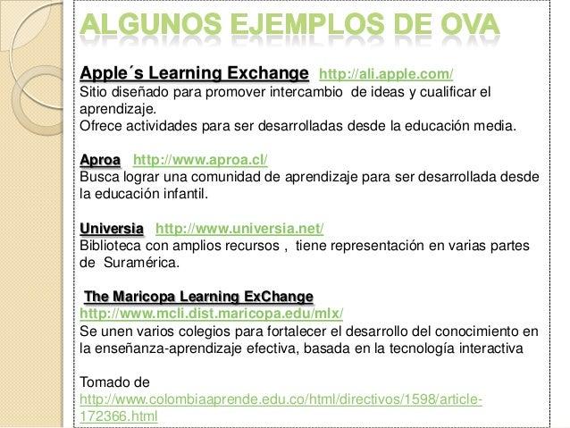 Apple´s Learning Exchange http://ali.apple.com/ Sitio diseñado para promover intercambio de ideas y cualificar el aprendiz...