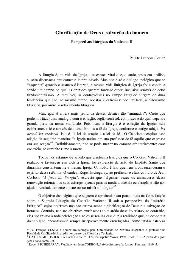 Glorificação de Deus e salvação do homem                              Perspectivas litúrgicas do Vaticano II              ...