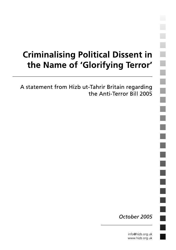 Criminalising Political Dissent in the Name of 'Glorifying Terror'         A statement from Hizb ut-Tahrir Britain regardi...